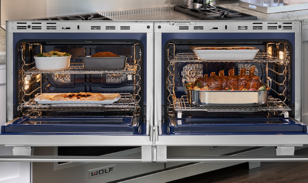 Wolf Dual Fuel Range showing food on shelves